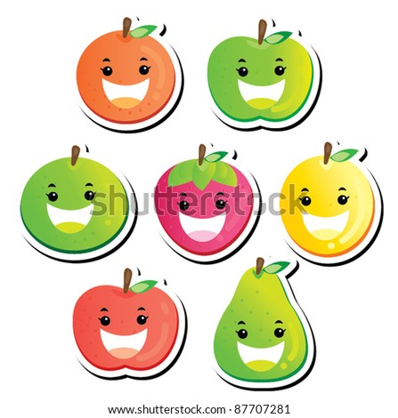 Smiling fruit series - stock vector