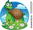 Smiling fun vector tortoise on a color background - stock vector
