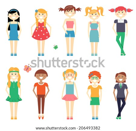 Smiling funny girls character set with school girls in dresses  shorts and slacks  redhead  blond and brunette with diverse hairstyles isolated on white - stock vector