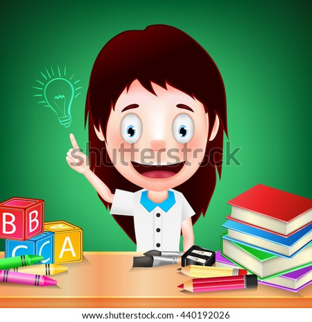 Smiling Girl Student Character with Idea on Green Background. Vector Illustration  - stock vector
