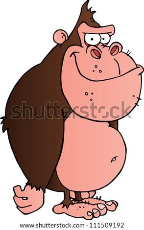 Smiling Gorilla Cartoon Character - stock vector