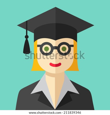 Smiling graduate student flat icon - stock vector