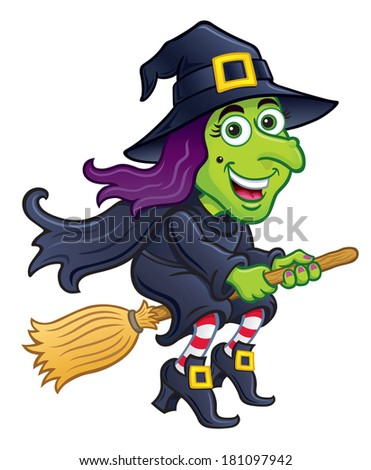 Smiling Green Witch Riding Her Broom
