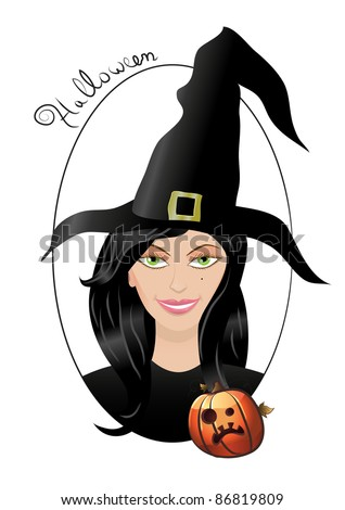 Smiling Halloween witch with pumpkin and black hat