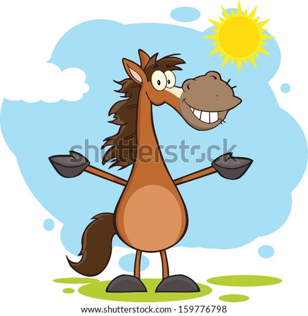 smiling horse cartoon mascot character open stock vector