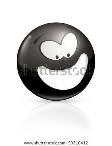 Smiling icon, black - stock vector