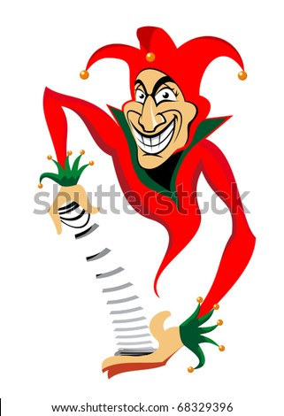 Smiling joker man for casino or poker design. Jpeg version also available in gallery - stock vector
