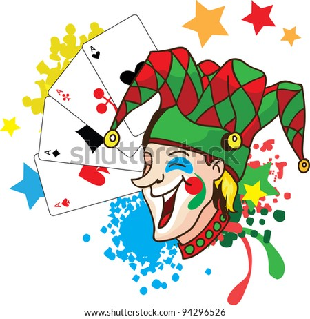 Smiling joker with cards and stars vector illustration - stock vector