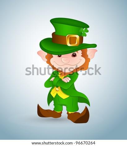 Smiling Leprechaun-St. Patrick's Day Cartoon Vector Illustration - stock vector
