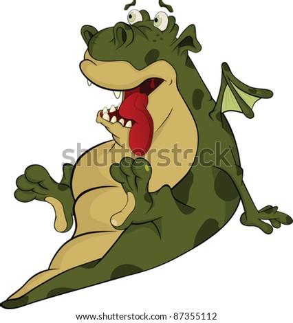 Smiling little green dragon. Cartoon - stock vector