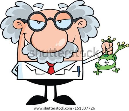 Smiling Mad Scientist Or Professor Holding A Frog - stock vector