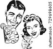 smiling man and woman raising a ...