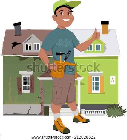Smiling man giving a thumb up in front of a house, shown before and after renovation, vector illustration, no transparencies  - stock vector