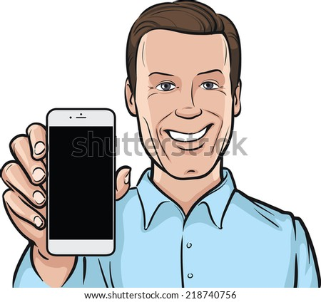 smiling man showing a mobile app on a smart phone - stock vector