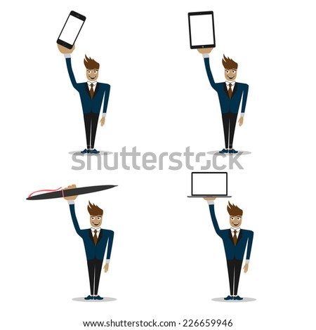 smiling man with different devices. smartphone, tablet computer, laptop and pen. vector eps - stock vector