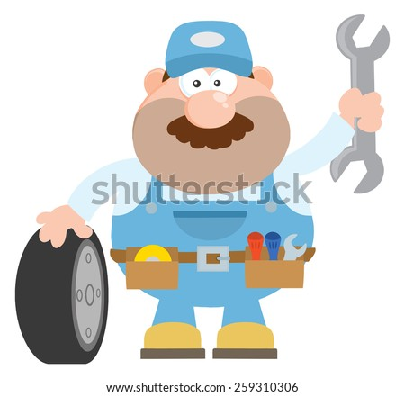 Smiling Mechanic Cartoon Character With Tire And Huge Wrench Flat Style. Vector Illustration Isolated On White - stock vector