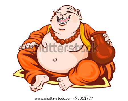 Smiling monk in cartoon style. Vector illustration - stock vector