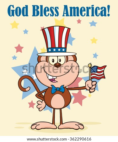 Smiling Monkey Cartoon Character With Patriotic USA Hat And American Flag. Vector Illustration Greeting Card - stock vector