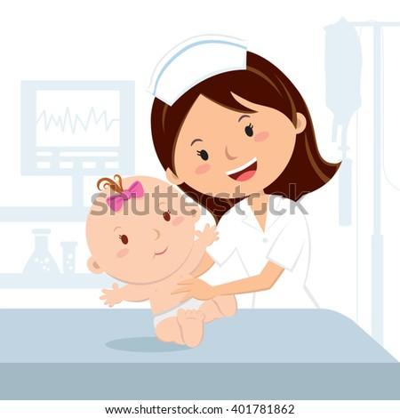 Smiling nurse and baby girl. Cheerful nurse examining baby girl at the hospital ward. - stock vector