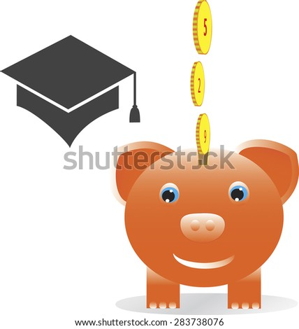 Smiling piggy bank with graduation cap and coins with numbers forming 529 for college fund concept. Vector format.  - stock vector