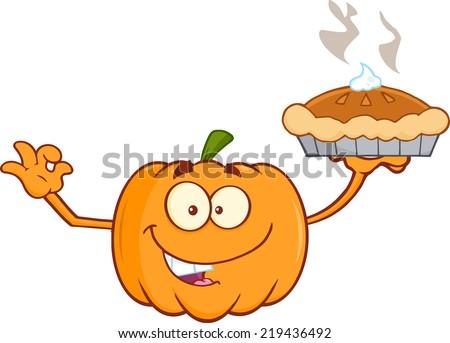 Smiling Pumpkin Cartoon Mascot Character Holding Perfect Pie - stock vector