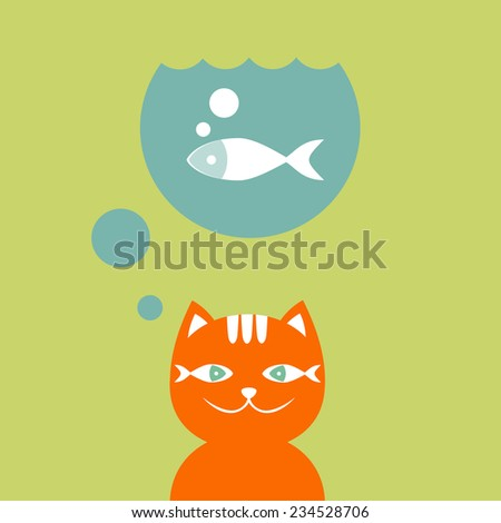 Smiling red cat dreams about fish. Vector illustration. - stock vector