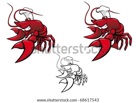 Smiling red crayfish chef isolated on white - also as emblem or logo template. Jpeg version also available in gallery - stock vector