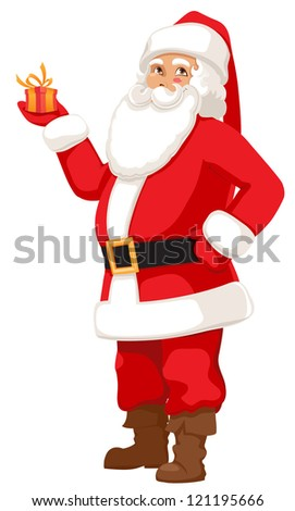smiling Santa with a small gift. vector illustration