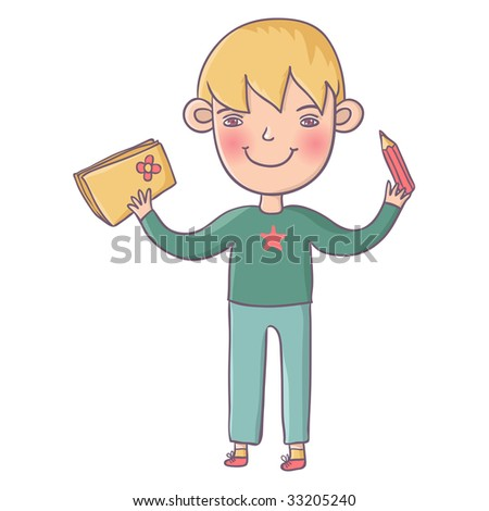 Smiling schoolboy - stock vector