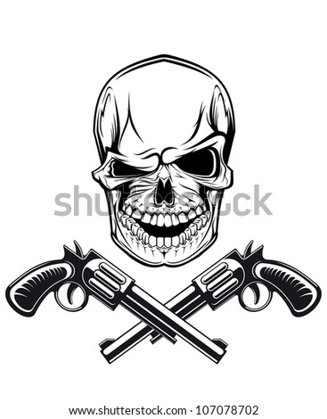 Smiling skull with revolvers for tattoo design. Jpeg version also available in gallery - stock vector