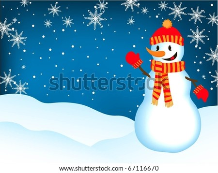 Smiling Snowman.Holiday background. - stock vector