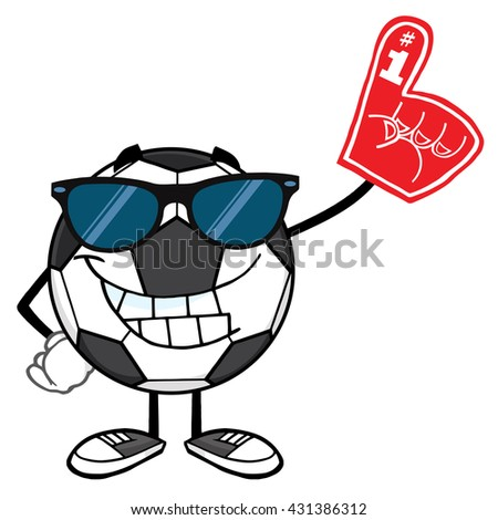 Smiling Soccer Ball Cartoon Mascot Character With Sunglasses Wearing A Foam Finger. Vector Illustration Isolated On White Background - stock vector