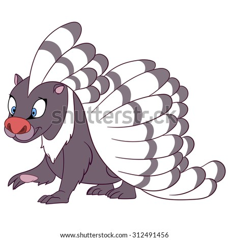 smiling striped porcupine is walking - stock vector