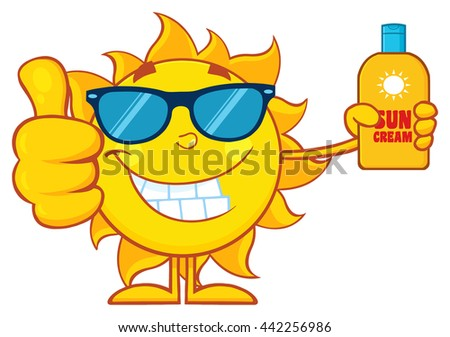 Smiling Summer Sun Cartoon Mascot Character Holding A Bottle Of Sun Block Cream Showing Thumb Up. Vector Illustration Isolated On White Background - stock vector