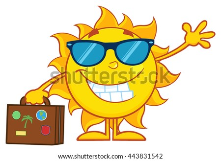 Smiling Summer Sun Cartoon Mascot Character With Sunglasses Carrying Luggage And Waving. Vector Illustration Isolated On White Background - stock vector