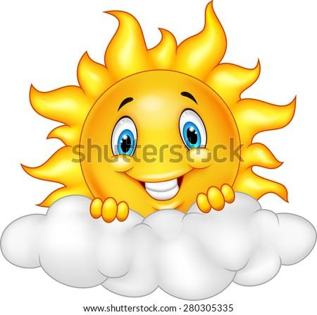 smiling sun cartoon mascot character stock vector 280305335