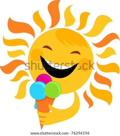 smiling sun eating ice cream - stock vector