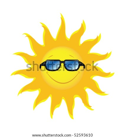 smiling sun with sunglasses - stock vector