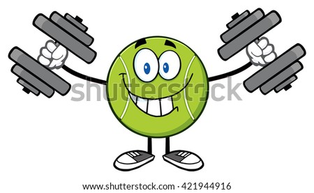 Smiling Tennis Ball Cartoon Mascot Character Working Out With Dumbbells. Vector Illustration Isolated On White - stock vector