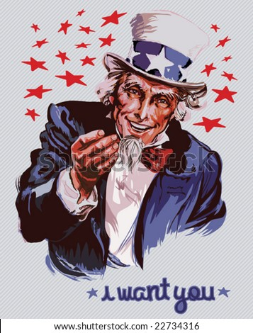Smiling Uncle Sam (removable text) - stock vector