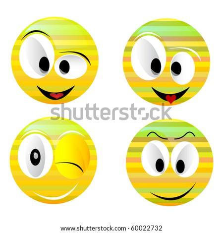 Smiling vector balls - stock vector