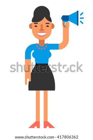 Smiling woman with a loudspeaker in hand. Coloured flat vector illustration isolated on white background
