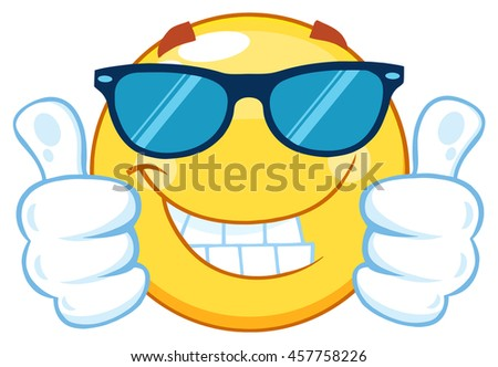 Smiling Yellow Emoticon Cartoon Mascot Character With Sunglasses Giving Two Thumbs Up. Vector Illustration Isolated On White Background