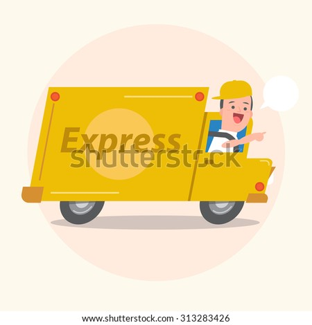Smiling young man postal delivery with van - white speech bubbles - Vector Illustration - stock vector