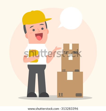Smiling young man postal delivery with white speech bubbles - Vector Illustration - stock vector