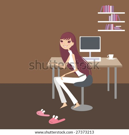 smiling young woman sitting on a chair and working on a computer laptop in her house