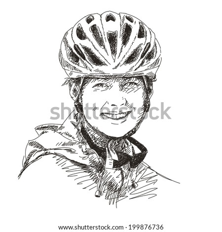 Smiling young woman wearing bicycle helmet, Hand drawn Vector illustration