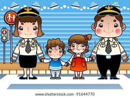 Smilling Police and Happy Children - stock vector