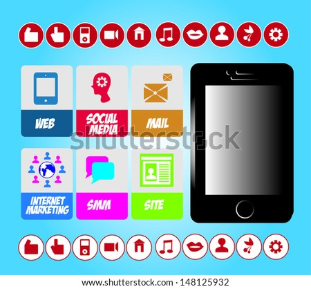 SMM social marketing signs vector set with internet icons and mobile phone  - stock vector