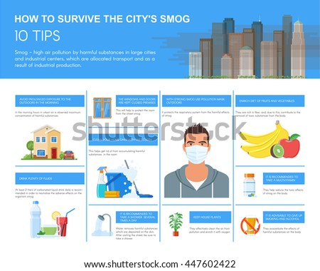 Smog infographic vector illustration. How to survive in city with smog. Design elements and icons in flat style. Pollutions and ecology risk concept. - stock vector